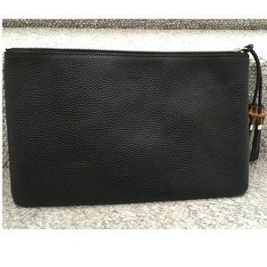 GUCCI NWT Black Clutch Large All Leather with wood